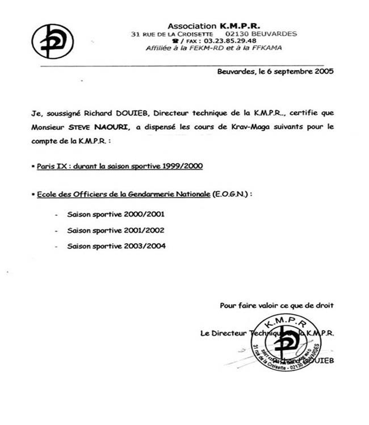 attestation signée par Richard DOUIEB